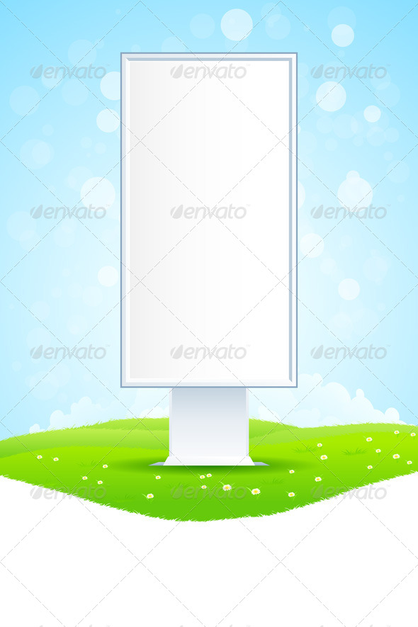 GraphicRiver Empty Billboard on Green Landscape 8125446
