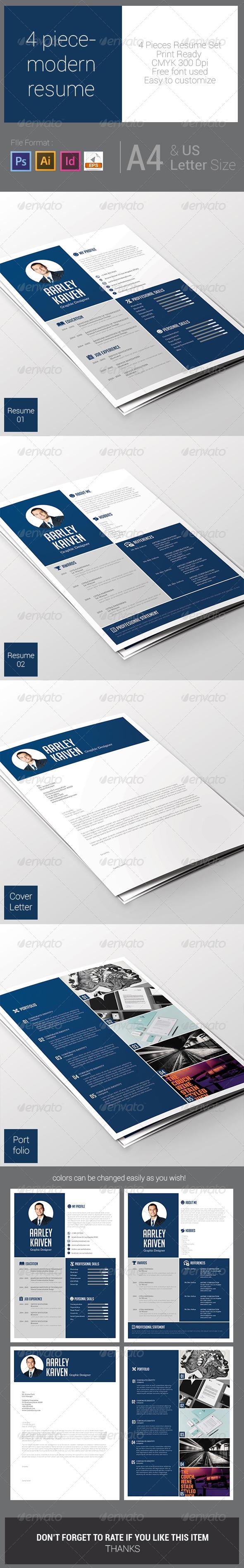 GraphicRiver 4 Piece-Modern Resume 8125837