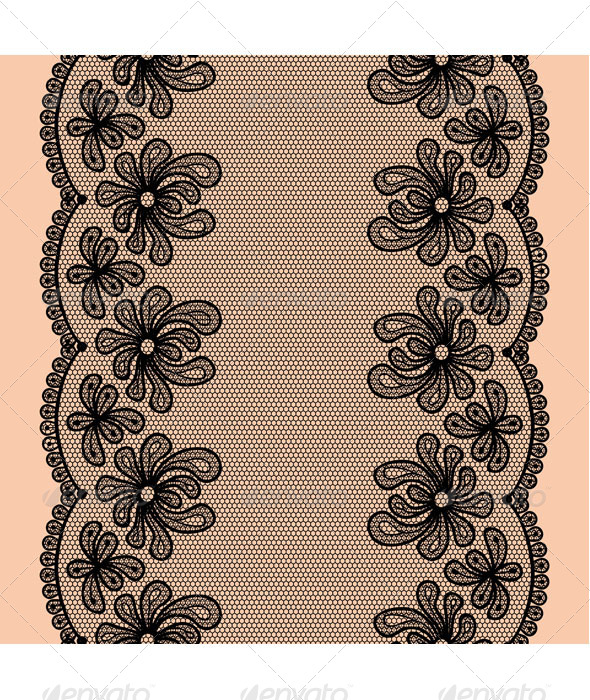 GraphicRiver Black Seamless Lacy Stripe 8125851
