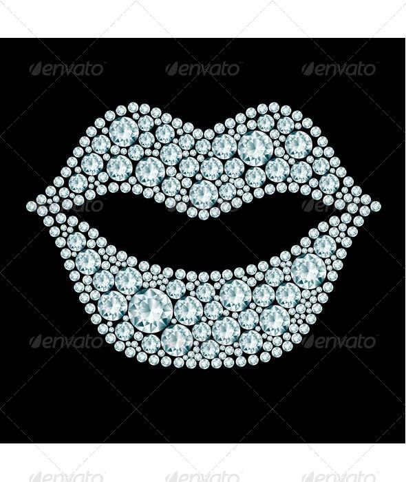 GraphicRiver Lips made of Diamonds 8125861