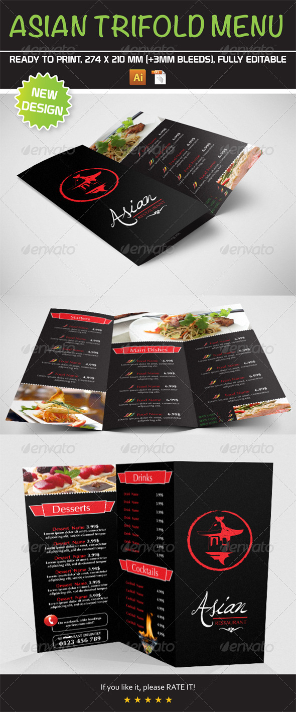 GraphicRiver Asian Trifold Menu Template 7992663
