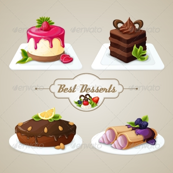 GraphicRiver Sweets Dessert Set 8126830
