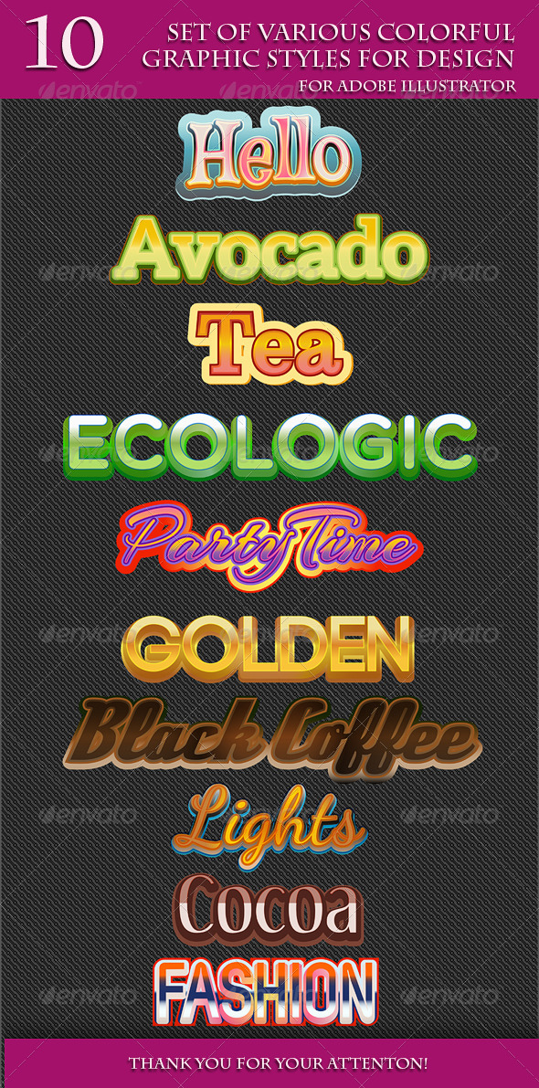 GraphicRiver Set of Various Colorful Graphic Styles for Design 8126839