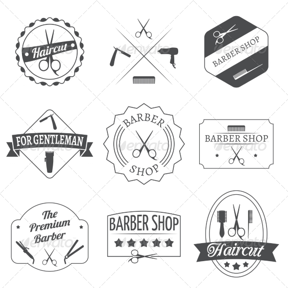 GraphicRiver Hairdresser Label Set 8126844