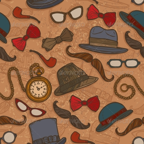 GraphicRiver Vintage Hats and Glasses Color Seamless Pattern 8126883