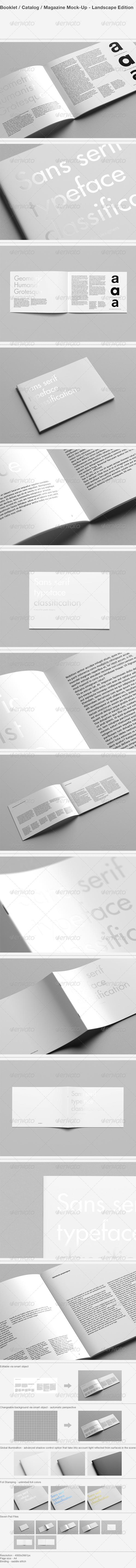 GraphicRiver Booklet Catalog Magazine Mock-Up Landscape 8126907