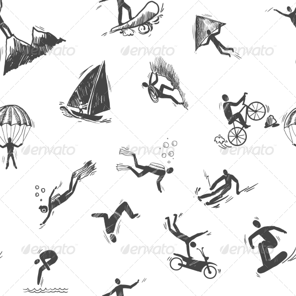 GraphicRiver Seamless Extreme Sports Icon 8126955