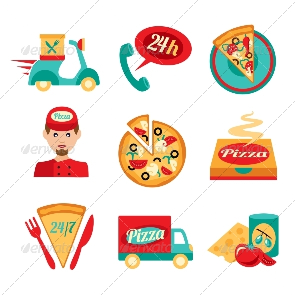 GraphicRiver Pizza Fast Delivery Icons Set 8126966