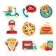 Pizza Fast Delivery Icons Set - GraphicRiver Item for Sale
