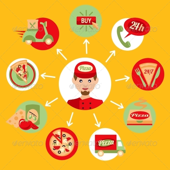 GraphicRiver Pizza Delivery Boy Icons Set 8126970