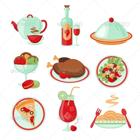 GraphicRiver Restaurant Food Icons Set 8126973