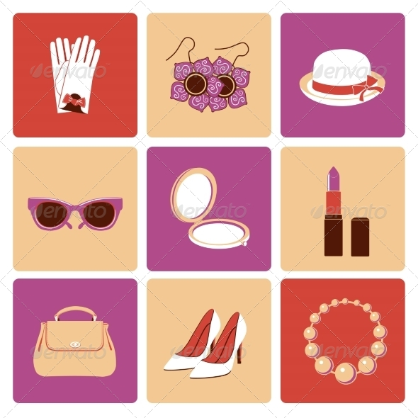 GraphicRiver Woman Accessories Flat Icon Set 8127010