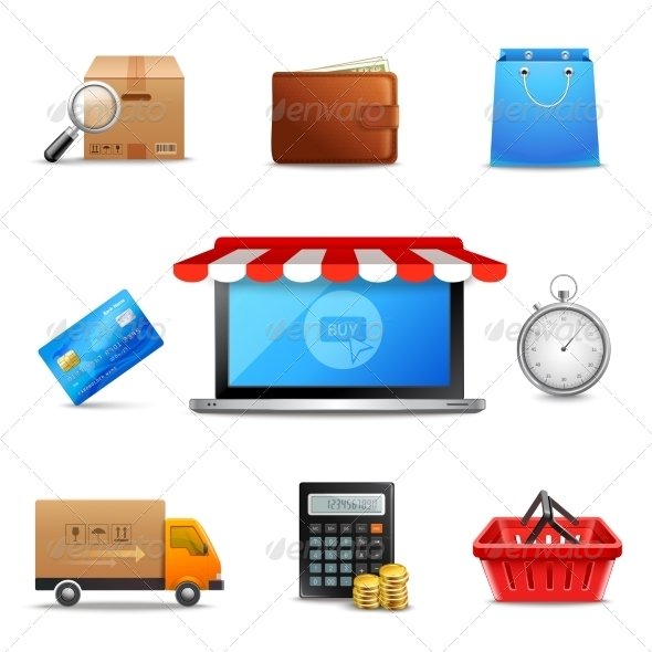 GraphicRiver Realistic Online Shopping Icons 8127013