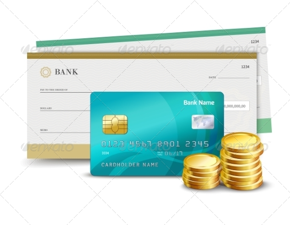 GraphicRiver Credit Card Check and Coins 8127017