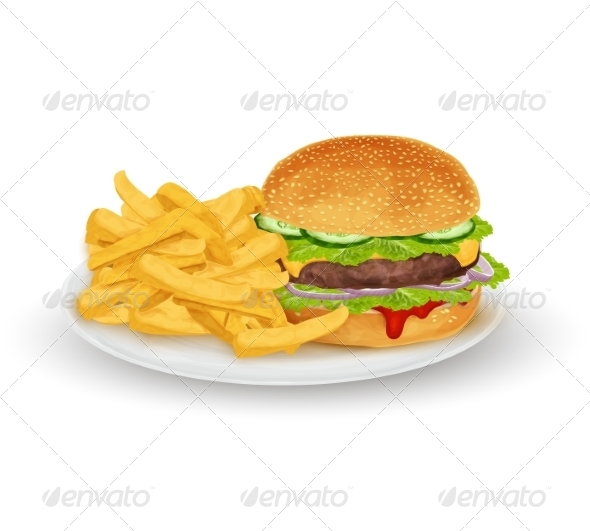 GraphicRiver Hamburger on Plate 8127036