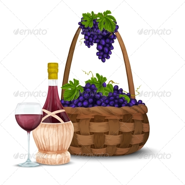 GraphicRiver Wine Grape and Wine Basket 8127043