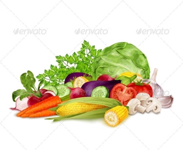 GraphicRiver Fresh Vegetables on White 8127045