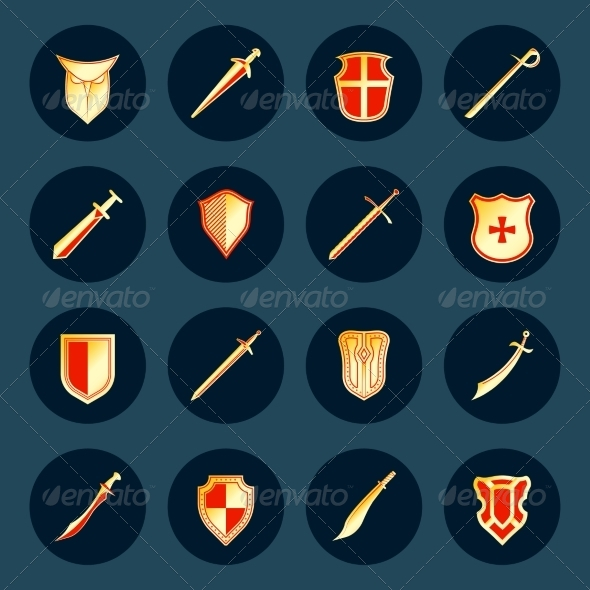 GraphicRiver Sword and Shield Icons 8127063