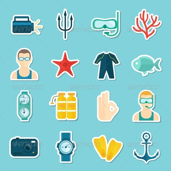 GraphicRiver Diving Icons Set 8127073