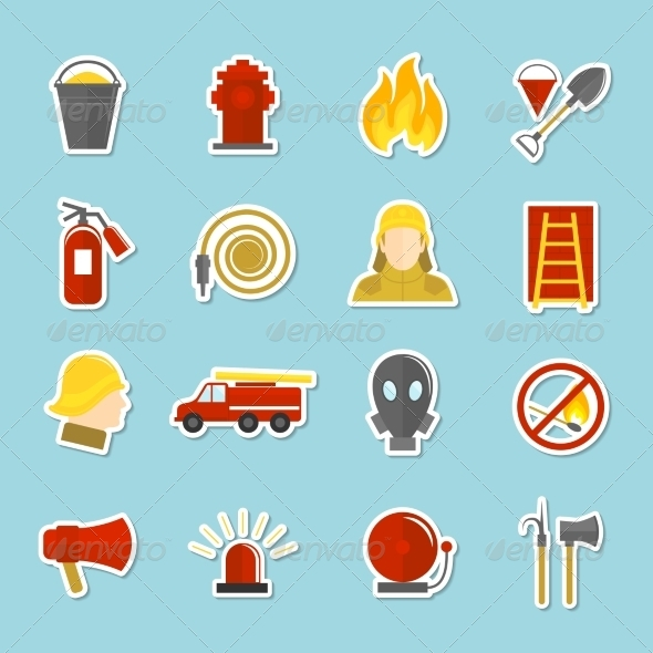 GraphicRiver Firefighting Icons Stickers 8127076
