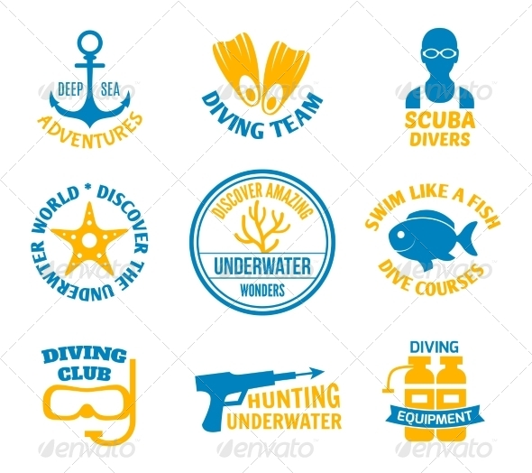 GraphicRiver Diving Seals Set 8127078
