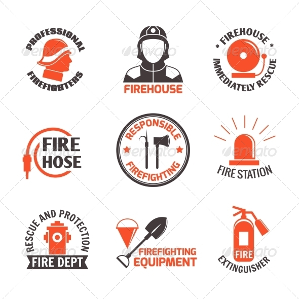 GraphicRiver Firefighting Label Set 8127079