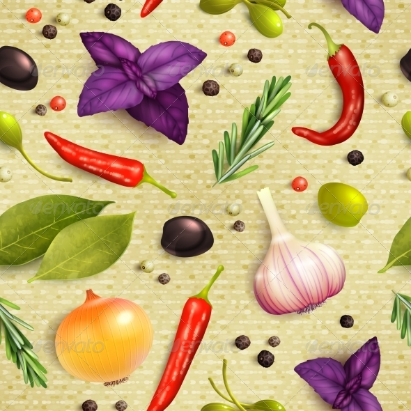 GraphicRiver Herbs and Spices Seamless Pattern 8127093