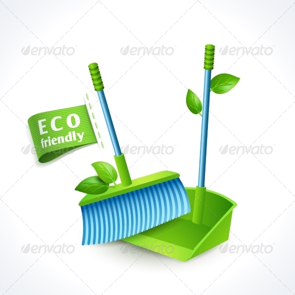 GraphicRiver Ecology Symbol Dustpan and Brush 8127115