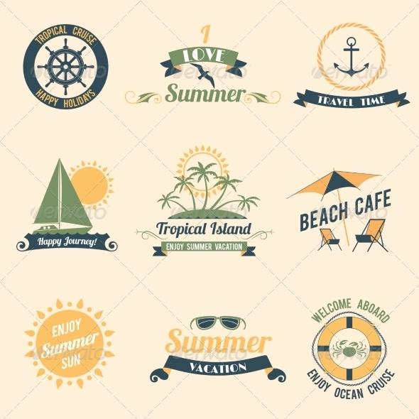 GraphicRiver Summer Sea Retro Labels 8127123