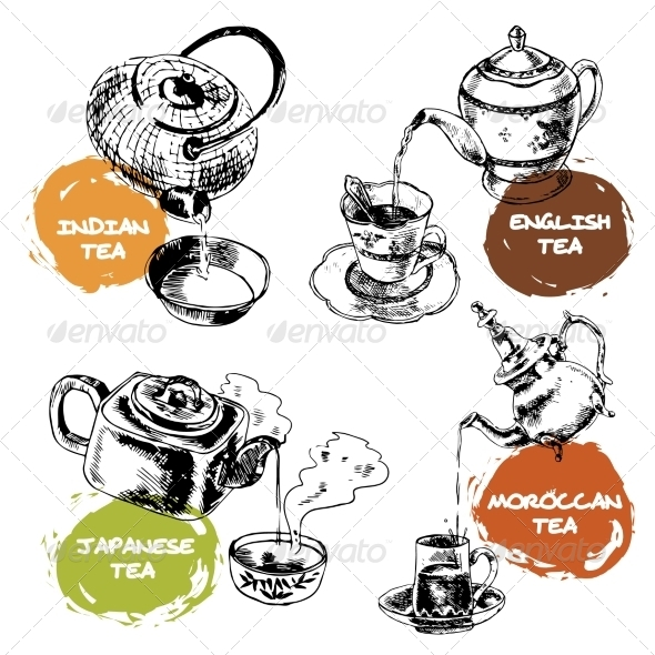 GraphicRiver Teapot and Cups Icons Set 8127131