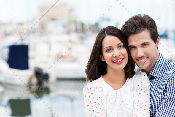 Happy affectionate couple on summer vacation - Stock Photo - Images