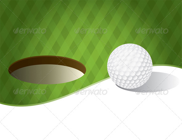 GraphicRiver Golf Ball on a Putting Green Background 8128053