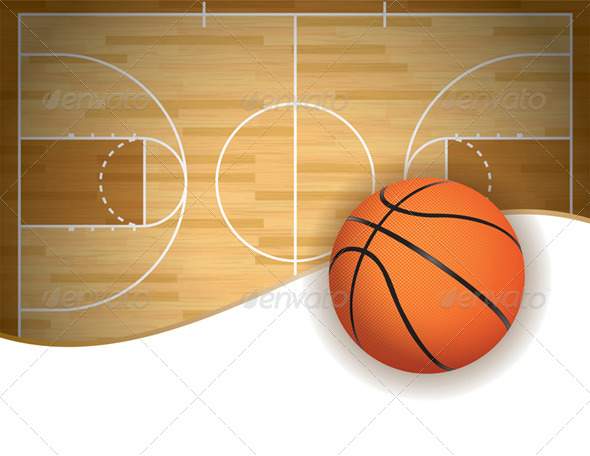 GraphicRiver Basketball Court and Ball Background 8128056