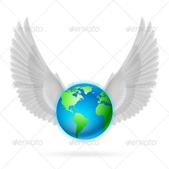 GraphicRiver Globe with White Wings on White 8128245