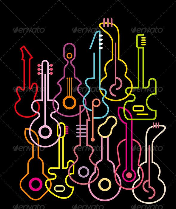 GraphicRiver Guitars Illustration 8128535