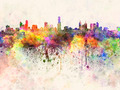 Melbourne skyline in watercolor background - PhotoDune Item for Sale