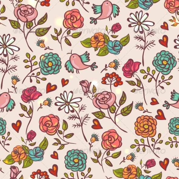 GraphicRiver Seamless Background with Roses and Birds 8129681