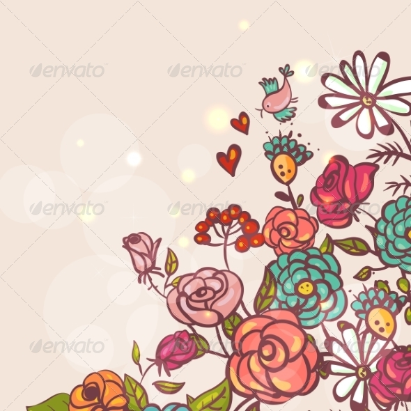 GraphicRiver Floral Background with Roses and Birds 8129685