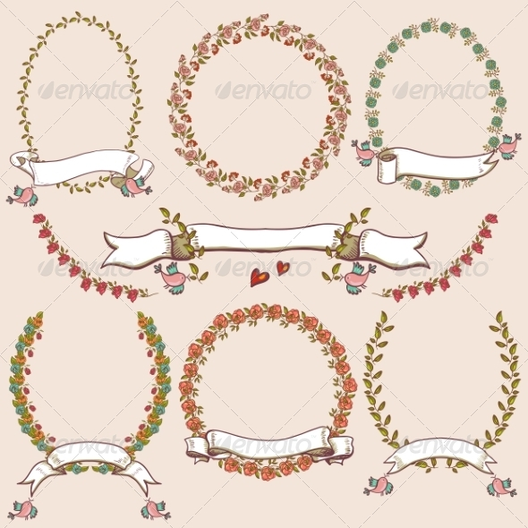 GraphicRiver Floral Laurels Ribbons and Wreaths 8129734