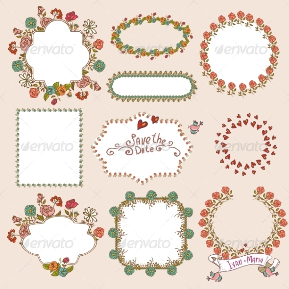 GraphicRiver Floral Laurels Ribbons and Wreaths 8129737