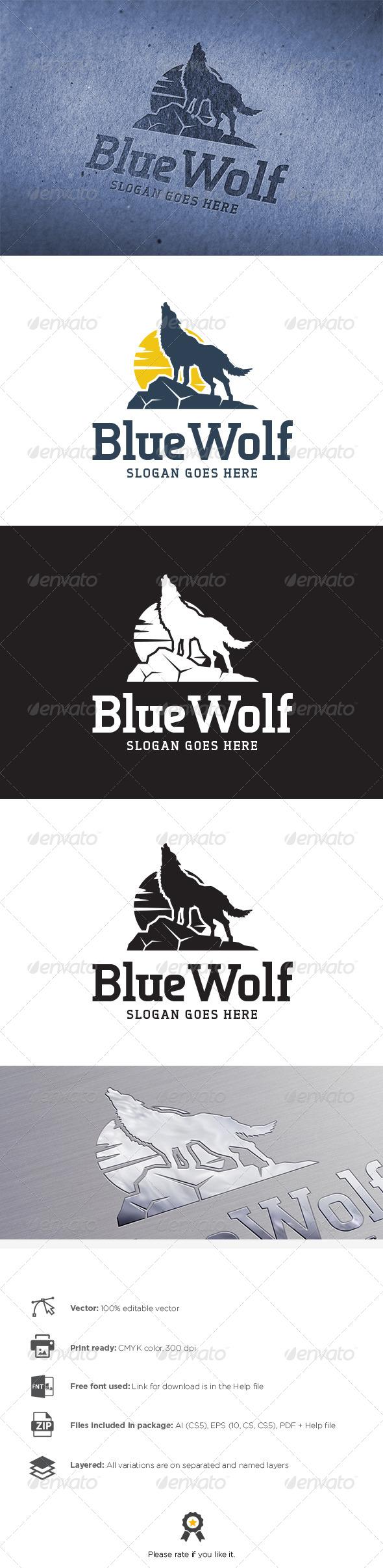 GraphicRiver Blue Wolf Logo 8130246