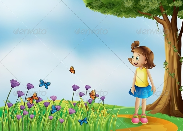 GraphicRiver Happy Girl on a Hilltop with a Garden 8130463
