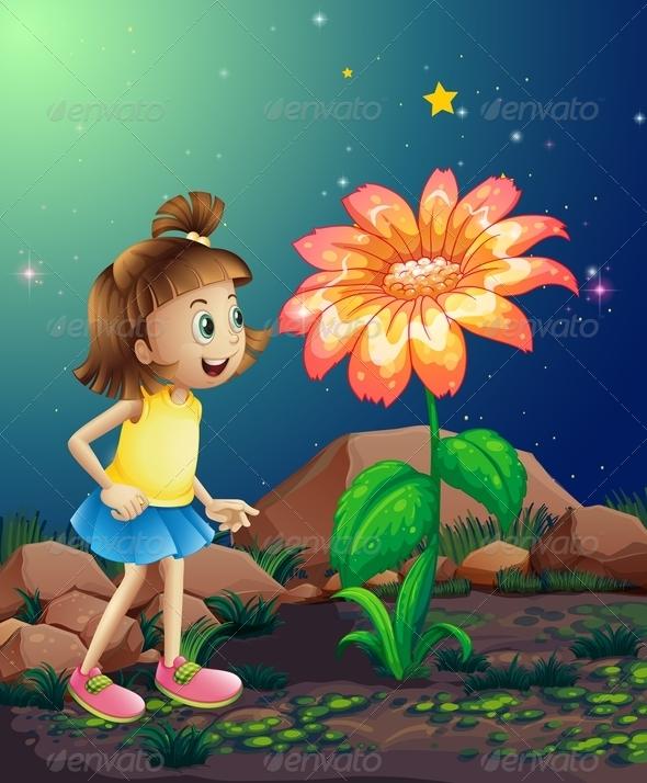 GraphicRiver Little Girl Amazed by a Giant Flower 8130469