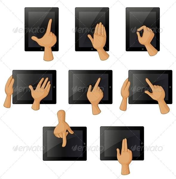 GraphicRiver Different Hand Gestures Using a Gadget 8130481