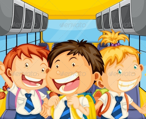 Happy Kids Inside the Schoolbus