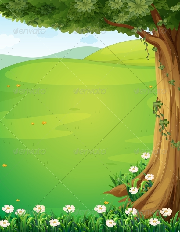 GraphicRiver A View of the Hills with a Tree and Flowers 8130495