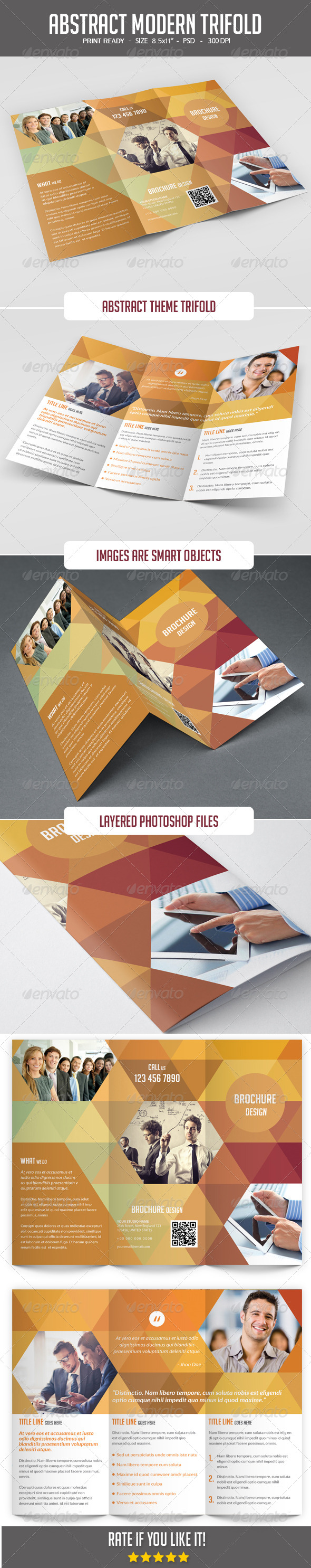 GraphicRiver Abstract Tri-Fold Brochure Template 8130555