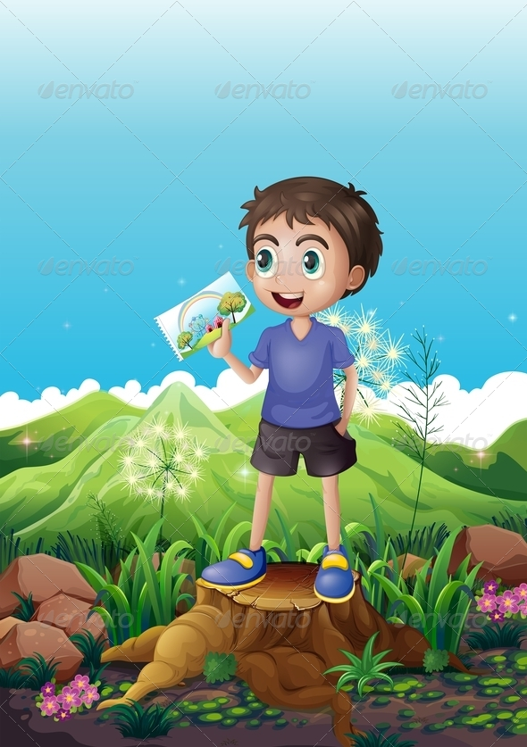 GraphicRiver Boy Holding a Picture Standing Above a Stump 8130558
