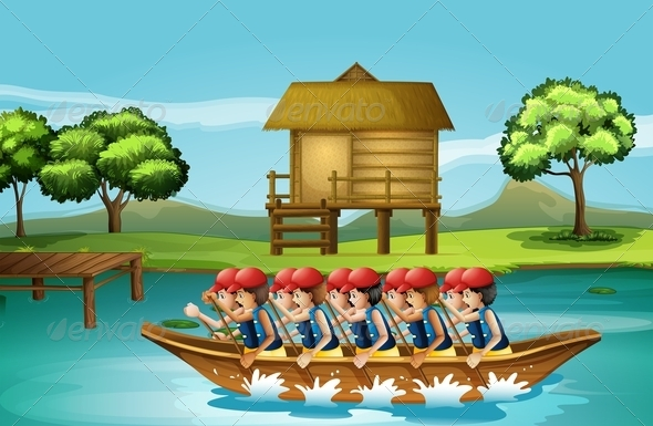 GraphicRiver Group of Men Boating 8130572