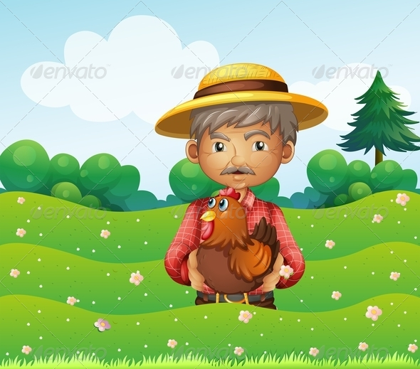 GraphicRiver Old Man and a Rooster on a Hill 8130601